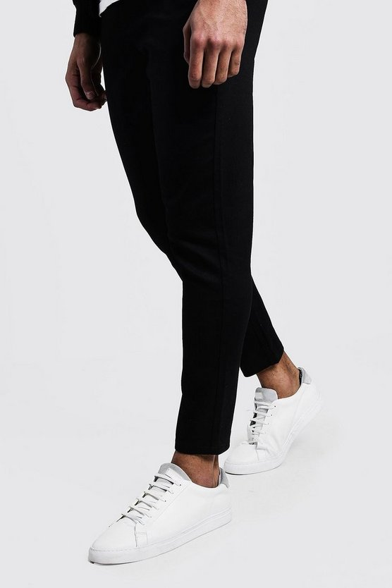 Mens Black Skinny Fit Cropped Chino Trouser
