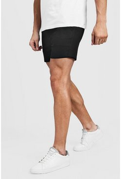 Mens Black Short Length Skinny Stretch Chino Shorts