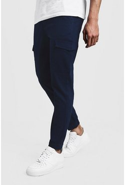 Mens Navy Skinny Fit Cargo Cuff Chino Trousers