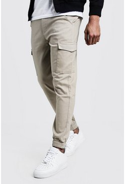 Mens Stone Skinny Fit Cargo Cuff Chino Pants