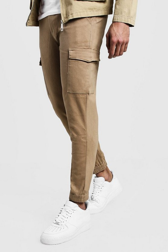 Camel Skinny Fit Cargo Cuff Chino Pants