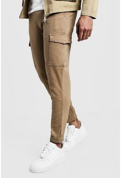 Mens Camel Skinny Fit Cargo Cuff Chino Trousers