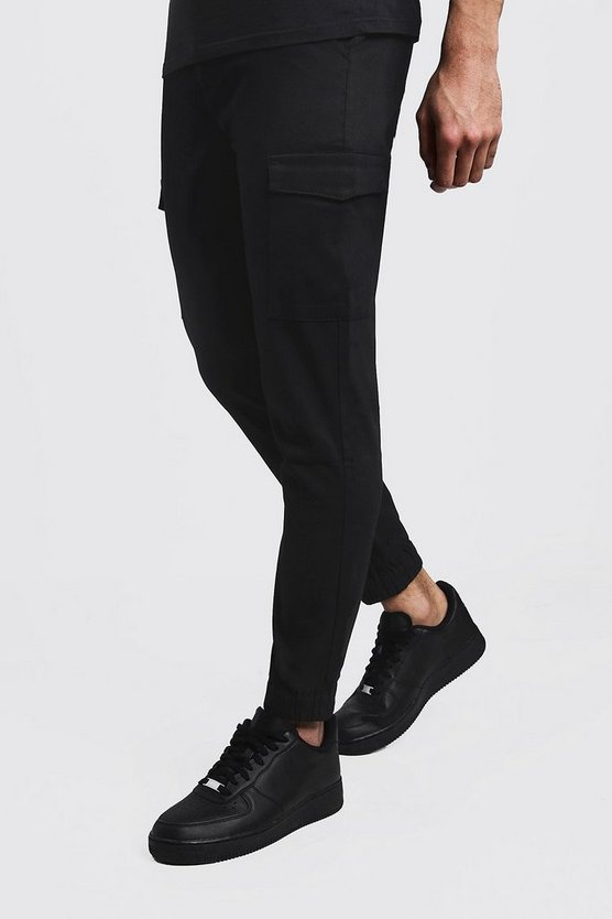 Mens Black Skinny Fit Cargo Cuff Chino Trouser
