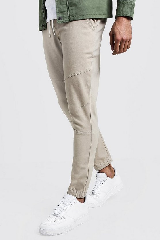 Mens Stone Skinny Cuffed Chino Trouser With Drawcord Waist