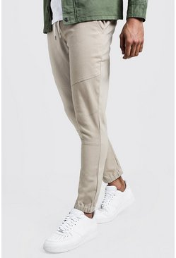 Mens Stone Skinny Cuffed Chino Pants With Drawcord Waist