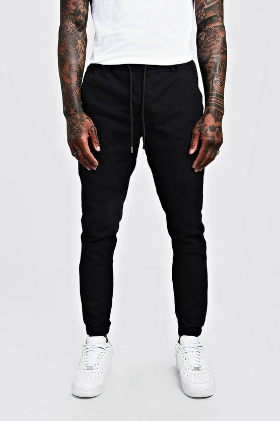 Mens Black Skinny Fit Chino Trouser With Drawcord Waist
