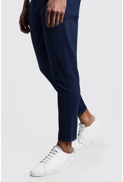 Mens Navy Skinny Fit Cropped Chino Pants