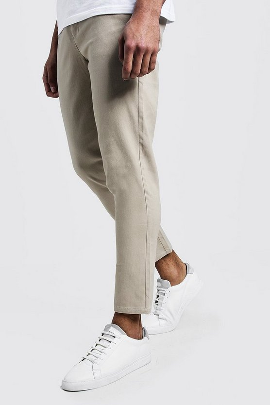 Mens Stone Skinny Fit Cropped Chino Trouser
