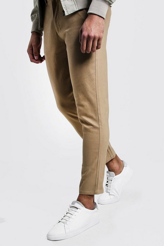Mens Camel Skinny Fit Cropped Chino Trouser