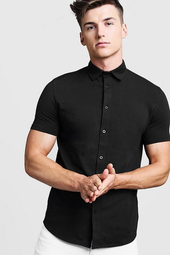 Mens Black Muscle Fit Short Sleeve Jersey Shirt