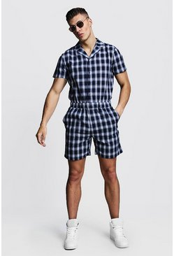 Herr Navy Check Revere Collar Short Jumpsuit