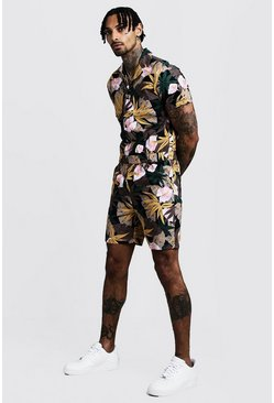 Mens Black Floral Print Revere Collar Short Boiler Suit