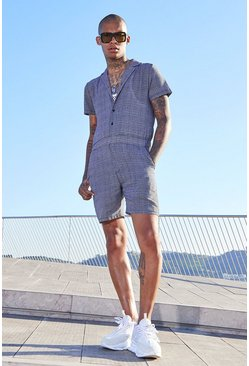 Mens Black Mini Check Revere Collar Short Jumpsuit