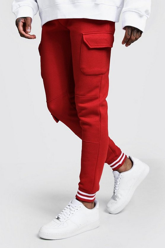 Mens Fire red Cargo Joggers With Sports Rib Detail