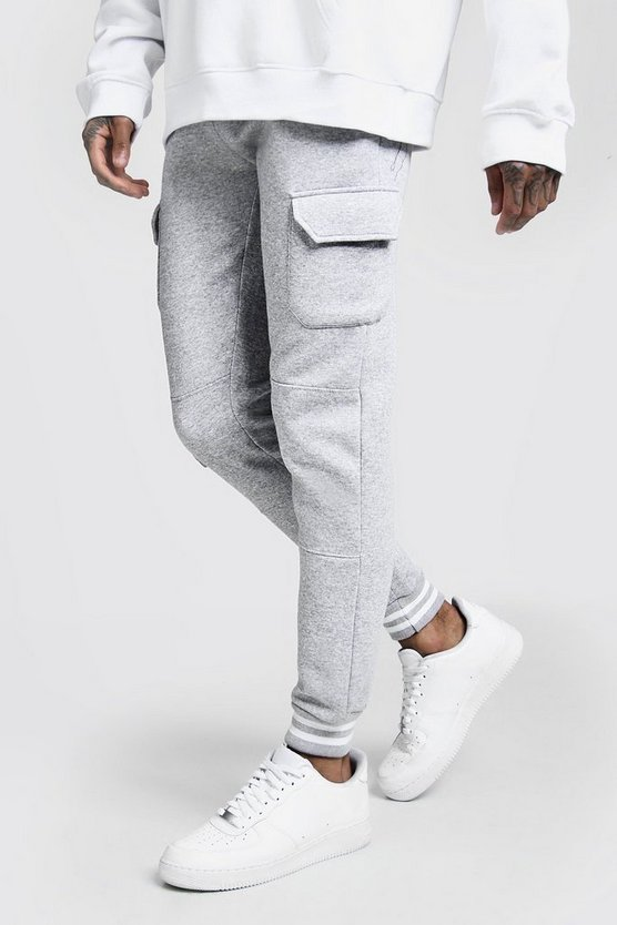 Mens Grey Cargo Joggers With Sports Rib Detail