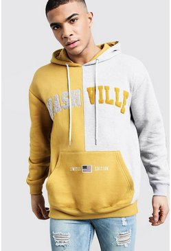 Mens Mustard Nashville Spliced Colour Block Hoodie