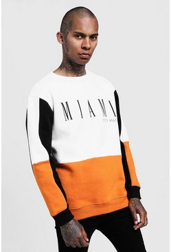 Mens Orange Miami Print Loose Fit Colour Block Sweatshirt