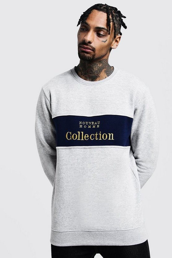 Grey Chest Panelled 'Collection' Sweatshirt