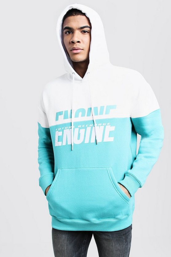 Mens Turquoise Engine Spliced Print Colour Block Hoodie