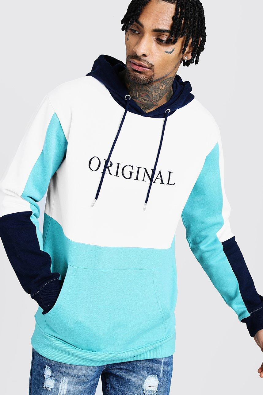 Original Print Colour Block Hoodie