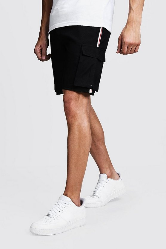 Cargo Shorts With Side Tape Detail