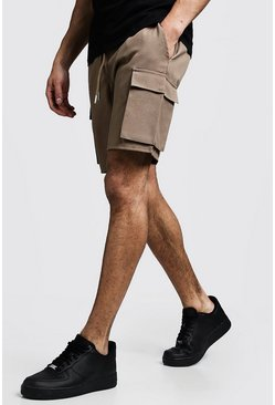 Mens Stone Cargo Shorts With Drawstring Waistband