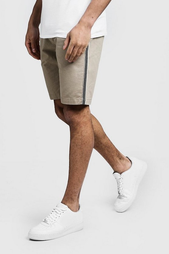 Mens Stone Slim Fit Cotton Chino Short With Side Tape