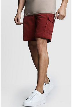Mens Rust Slim Fit Cotton Cargo Short
