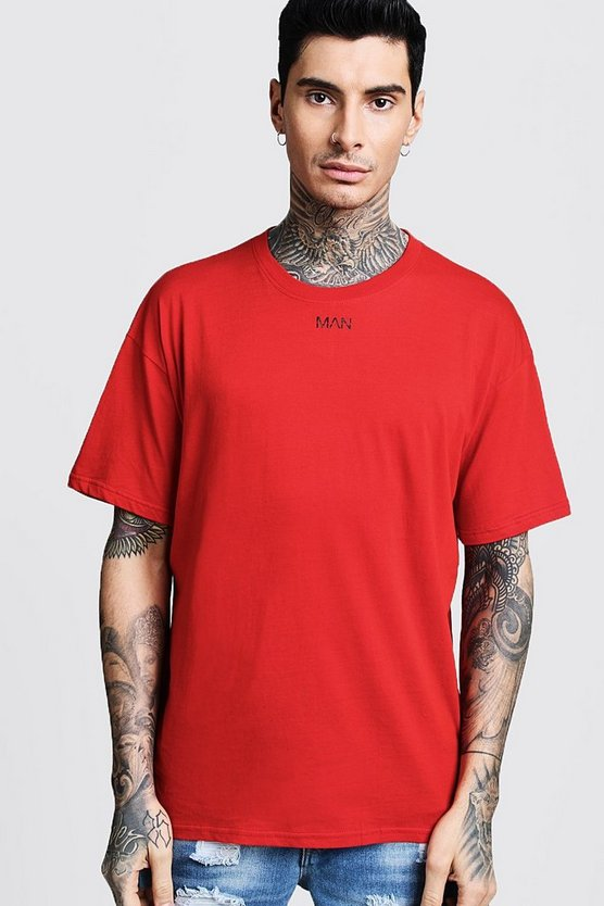 Mens Red Oversized Original MAN Placement Print T-Shirt