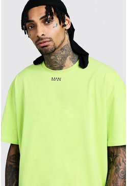 Mens Neon-green Oversized Original MAN Placement Print T-Shirt