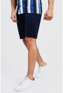 Slim-Fit Chino-Shorts aus Baumwolle, Marineblau, Herren