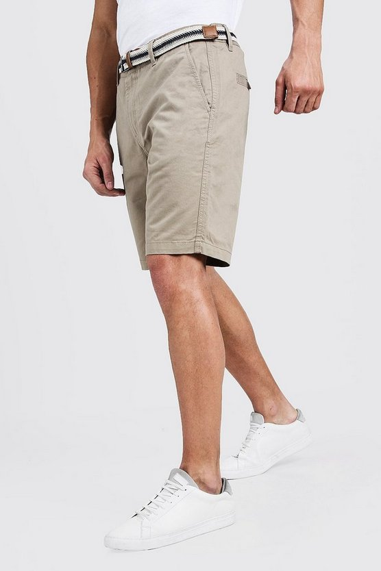 Mens Stone Slim Fit Cotton Chino Shorts With Belt