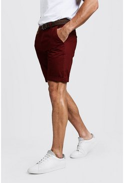 Mens Rust Slim Fit Cotton Chino Shorts With Belt