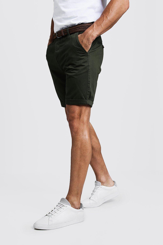 888b3410558cf Short Chino en coton coupe Slim avec ceinture, Kaki, Homme. Fais glisser  pour zoomer