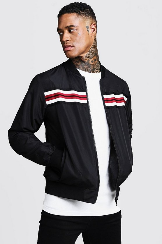 Mens Black Stripe Tape Detail Bomber Jacket