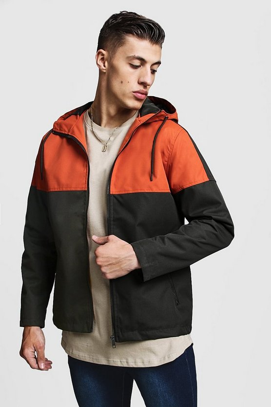 Mens Orange Colour Block Zip Through Rain Mac