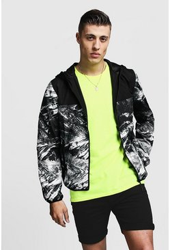 Mens Black Printed Contrast Zip Through Jacket