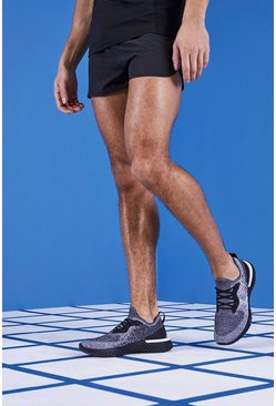 Mens Black MAN Gym Reflective Runner Shorts