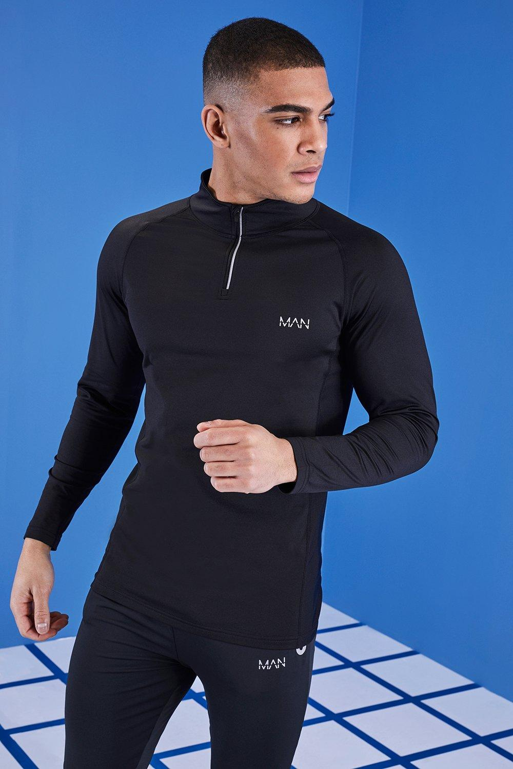 MAN Active Zip Funnel Neck Top With Mesh Panel