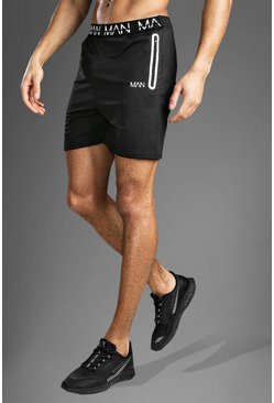 Mens Black Gym MAN Waistband Shorts
