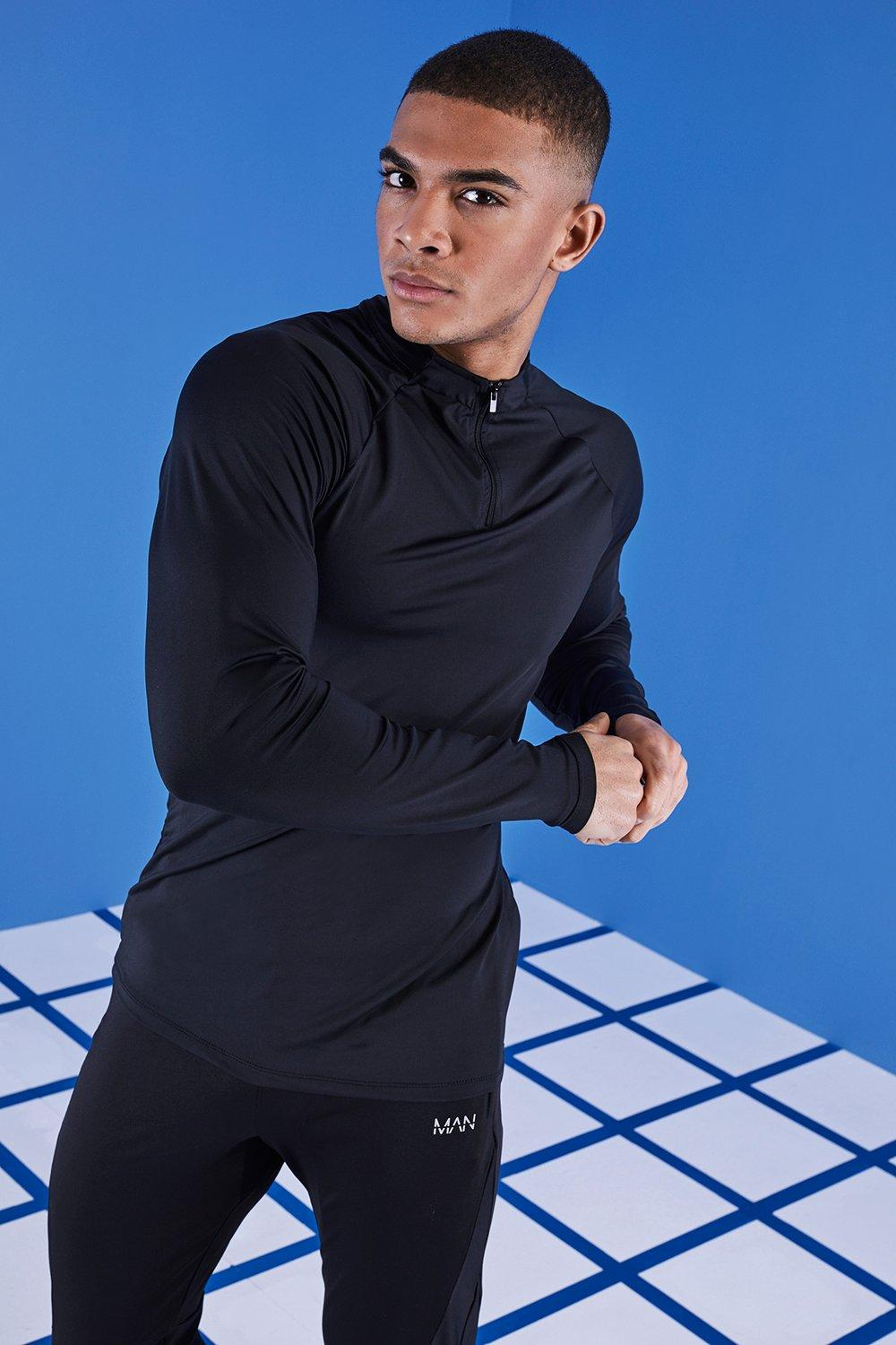 MAN Gym Reflective Raglan Funnel Neck Top