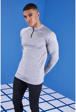 MAN Gym Contrast Raglan Funnel Neck Top, Black, МУЖСКОЕ
