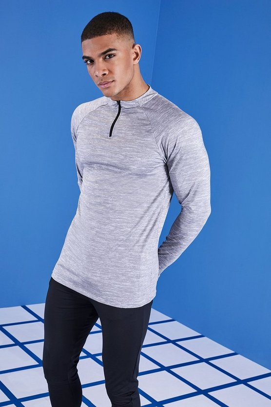Mens Black MAN Gym Contrast Raglan Funnel Neck Top