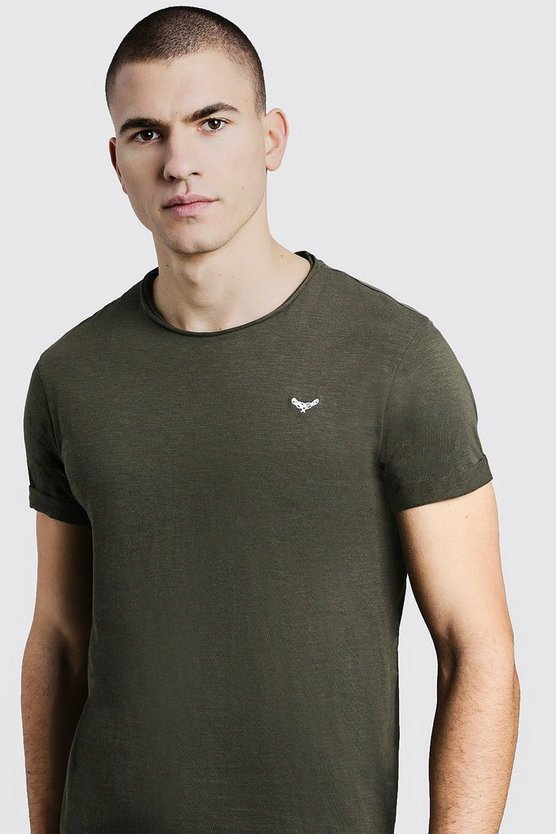 Raw Edge Roll Sleeve T-Shirt