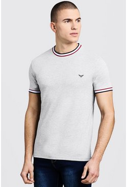 Mens Grey Crew Neck T-Shirt With Sports Tipping
