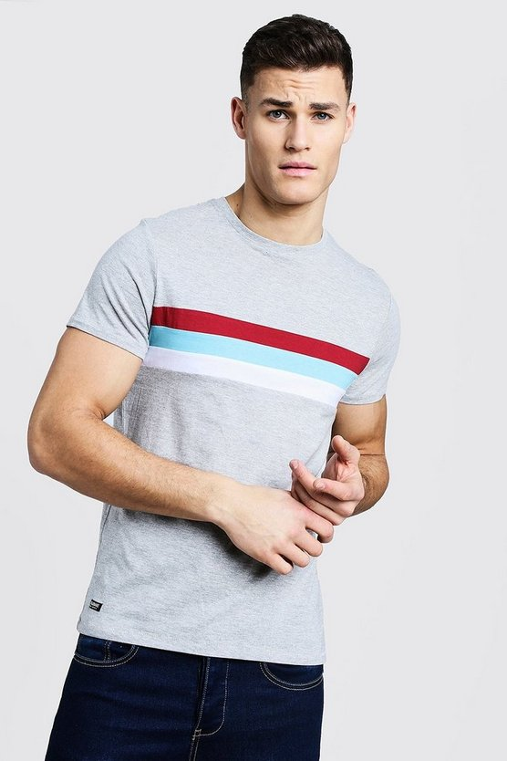 Crew Neck T-Shirt With Colour Block Panel