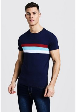 Mens Navy Crew Neck T-Shirt With Colour Block Panel