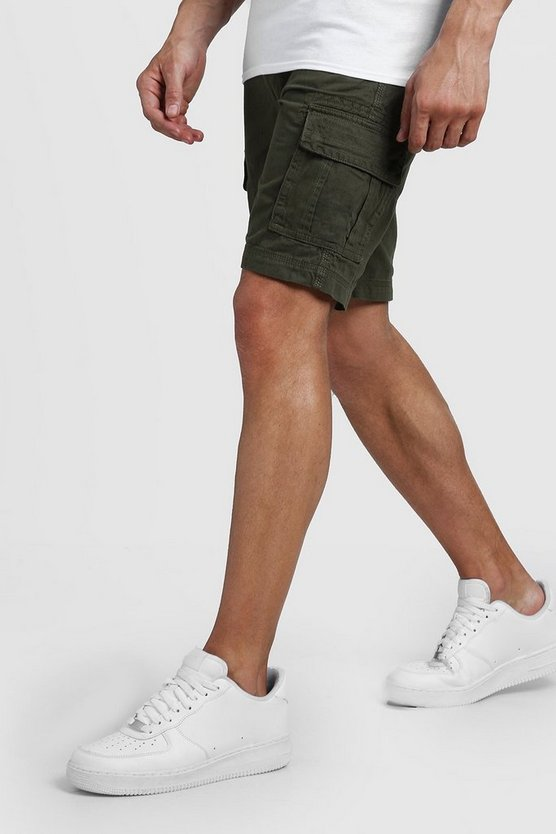 Mens Khaki Slim Fit Cotton Cargo Short