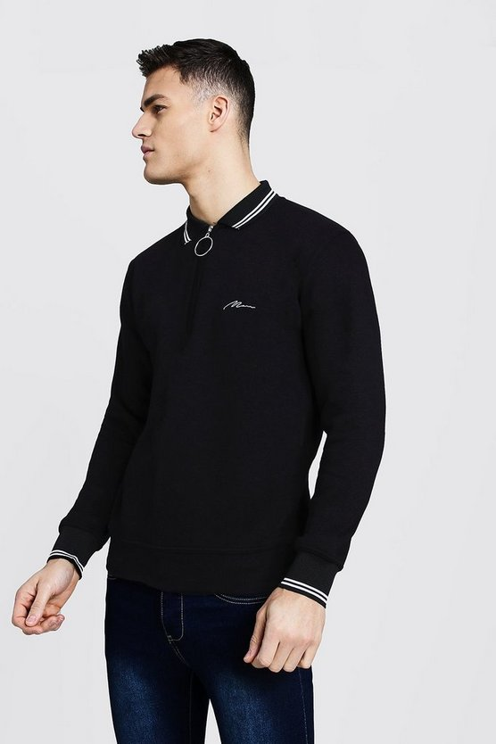 Mens Black MAN Signature Rugby Sweater