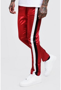 Mens Red Skinny Fit Side Stripe Satin Jogger